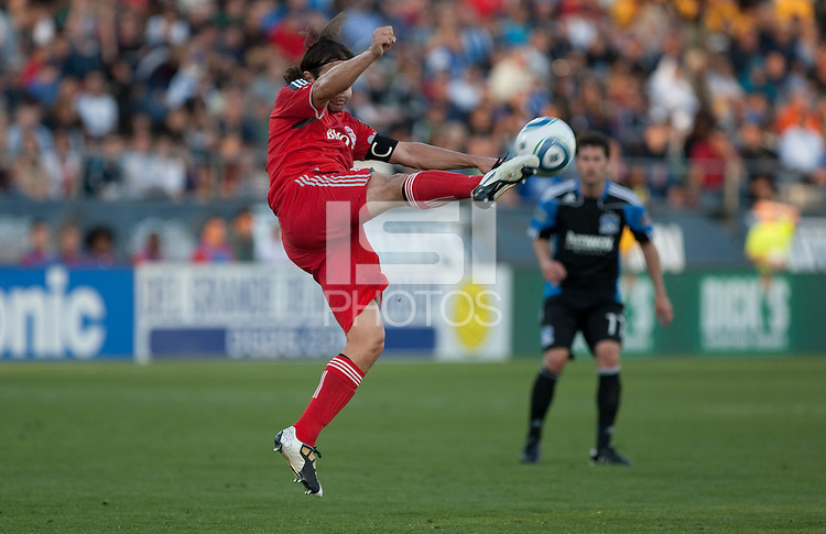 Nick Garcia kicks the ball. Toronto FC defeated the San Jose Earthquakes 3-1 at Buck Shaw Stadium in Santa Clara, California on May 29th, 2010.