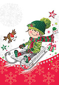 Sharon, CHRISTMAS CHILDREN, WEIHNACHTEN KINDER, NAVIDAD NIÑOS, GBSS,sledge, paintings+++++,GBSSC50XJA,#XK#