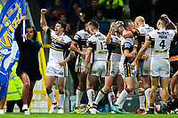 Picture by Alex Whitehead/SWpix.com - 07/10/2017 - Rugby League - Betfred Super League Grand Final - Castleford Tigers v Leeds Rhinos - Old Trafford, Manchester, England - Leeds' Tom Briscoe (L) celebrates his try with team-mates.