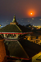 A high angle view over Durbar Square as a full moon rises, Bhaktapur, Kathmandu Valley, Nepal.