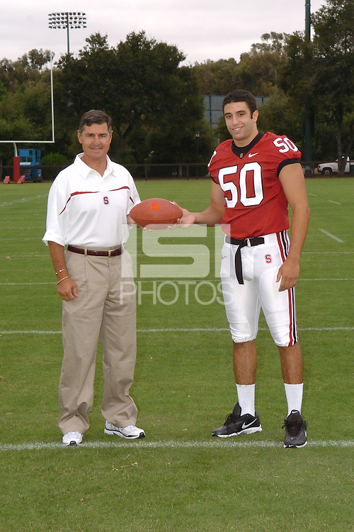7 August 2006: Stanford Cardinal head coach Walt Harris and Nick Macaluso during Stanford Football's Team Photo Day at Stanford Football's Practice Field in Stanford, CA.