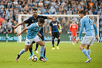 Kansas City, KS - Wednesday August 9, 2017: Chris Wondolowski, Benny Feilhaber during a Lamar Hunt U.S. Open Cup Semifinal match between Sporting Kansas City and the San Jose Earthquakes at Children's Mercy Park.