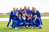 The winning European Team at the Ryder Cup, Le Golf National, Iles-de-France, France. 30/09/2018.<br /> Picture Fran Caffrey / Golffile.ie<br /> <br /> All photo usage must carry mandatory copyright credit (© Golffile | Fran Caffrey)