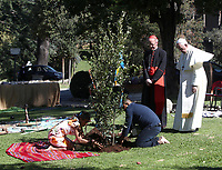 Pope Francis and Brazilian Cardinal Claudio Hummes, watch as members of an indigenous community plant a newly-planted oak tree during celebrations for the Feast of Saint Francisiin the Vatican Garden at the Vatican, on October 4, 2019.<br /> UPDATE IMAGES PRESS/Isabella Bonotto<br /> <br /> STRICTLY ONLY FOR EDITORIAL USE