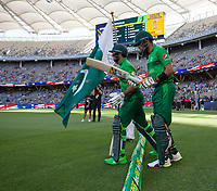 8th November 2019; Optus Stadium, Perth, Western Australia Australia; T20 Cricket, Australia versus Pakistan; Babar Azam of Pakistan and Imam-ul-Haq walk out to open the innings for Pakistan - Editorial Use