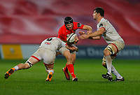 9th November 2019; Thomond Park, Limerick, Munster, Ireland; Guinness Pro 14 Rugby, Munster versus Ulster; Tyler Bleyendaal of Munster is tackled by  Nick Timoney and Sam Carter of Ulster - Editorial Use