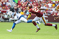 Landover, MD - September 16, 2018: Indianapolis Colts wide receiver Chester Rogers (80) catches a pass during the  game between Indianapolis Colts and Washington Redskins at FedEx Field in Landover, MD.   (Photo by Elliott Brown/Media Images International)