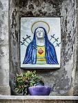 Immaculate heart of Mary, roadside shrine, small Italian village of Mezzana, Tuscano, Italy