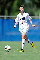 26 September 2010:  FIU's April Perry (6) moves the ball upfield in the second half as the FIU Golden Panthers defeated the Arkansas State Red Wolves, 1-0 in double overtime, at University Park Stadium in Miami, Florida.