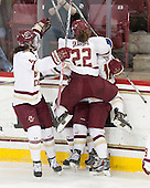 Carpenter goal overturned on review due to offsides. Megan Keller (BC - 4), Alex Carpenter (BC - 5), Haley Skarupa (BC - 22) - The Boston College Eagles defeated the Northeastern University Huskies 5-1 (EN) in their NCAA Quarterfinal on Saturday, March 12, 2016, at Kelley Rink in Conte Forum in Boston, Massachusetts.