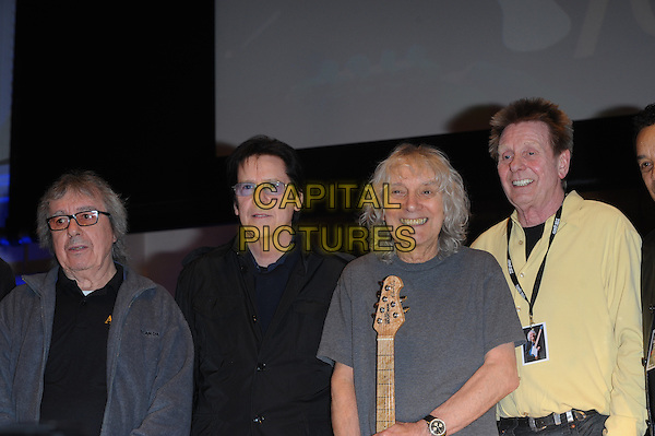 LONDON, UK, MARCH 01:  Shakin' Stevens, Bill Wyman, Albert Lee, Joe Brown on stage ahead of Albert Lee's 70th Anniversary Concert at Cadogan Hall on March 1, 2014 in London, United Kingdom.<br /> CAP/CJ<br /> &copy;Chris Joseph/Capital Pictures