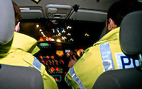 Police rapid response traffic vehicle on an emergency call as viewed from the inside...© SHOUT. THIS PICTURE MUST ONLY BE USED TO ILLUSTRATE THE EMERGENCY SERVICES IN A POSITIVE MANNER. CONTACT JOHN CALLAN. Exact date unknown.john@shoutpictures.com.www.shoutpictures.com..