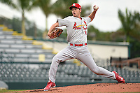 Palm Beach Cardinals pitcher Kyle Helisek (16) during a game against the Bradenton Marauders on April 8, 2014 at McKechnie Field in Bradenton, Florida.  Bradenton defeated Palm Beach 4-3.  (Mike Janes/Four Seam Images)