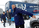 (Nashua, NH, 02/08/16) Republican presidential candidate Jeb Bush throws a snowball as campaign staffers take cover after Bush spoke at a Rotary luncheon in Nashua, New Hampshire on Monday, February 08, 2016. Photo by Christopher Evans