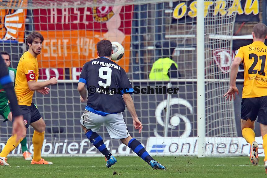 Edmond Kapllani (FSV) erzielt das 1:1 - FSV Frankfurt vs.Dynamo Dresden, Frankfurter Volksbank Stadion