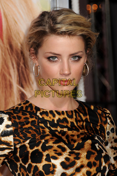 "AMBER HEARD.""House Bunny"" Los Angeles Premiere at Mann's Village Theatre, Westwood, California, USA..August 20th, 2008.headshot portrait leopard print black brown white .CAP/ADM/BP.©Byron Purvis/AdMedia/Capital Pictures."