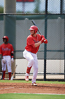 GCL Phillies West Rixon Wingrove (52) bats during a Gulf Coast League game against the GCL Yankees East on August 3, 2019 at the Carpenter Complex in Clearwater, Florida.  The GCL Phillies West defeated the GCL Yankees East 15-7 in a completion of a game that was originally started on July 26, 2019.  (Mike Janes/Four Seam Images)