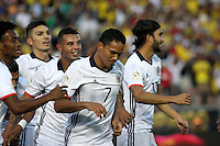 PASADENA - UNITED STATES, 07-06-2016: Carlos Bacca (#7) jugador de Colombia (COL) celebra después de anotar un gol a Paraguay (PAR) durante partido del grupo A fecha 2 por la Copa América Centenario USA 2016 jugado en el estadio Rose Bowl en Pasadena, California, USA. /  Carlos Bacca (#7) player of Colombia (COL) celebrates after scoring a goal to Paraguay (PAR) during match of the group A date 2 for the Copa América Centenario USA 2016 played at Rose Bowl stadium in Pasadena, California, USA. Photo: VizzorImage/ Luis Alvarez /Str