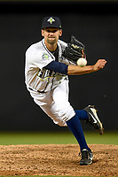 Relief pitcher Stephen Villines (40) of the Columbia Fireflies delivers a pitch in a game against the Augusta GreenJackets on Opening Day, Thursday, April 5, 2018, at Spirit Communications Park in Columbia, South Carolina. Columbia won, 4-2. (Tom Priddy/Four Seam Images)
