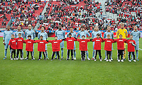 Sporting KC during the national anthems in an MLS game between Sporting Kansas City and the Toronto FC at BMO Field in Toronto on June 4, 2011..The game ended in a 0-0 draw...