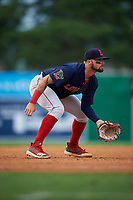 Lowell Spinners third baseman Nicholas Northcut (24) during a NY-Penn League game against the Batavia Muckdogs on July 11, 2019 at Dwyer Stadium in Batavia, New York.  Batavia defeated Lowell 5-2.  (Mike Janes/Four Seam Images)