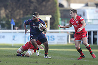 Dan Koroi of London Scottish during the Greene King IPA Championship match between London Scottish Football Club and Jersey at Richmond Athletic Ground, Richmond, United Kingdom on 18 February 2017. Photo by David Horn / PRiME Media Images.