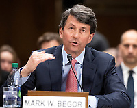 """Mark W. Begor, Chief Executive Officer, Equifax, Inc. testifies before the United States Senate Committee on Homeland Security and Governmental Affairs Permanent Subcommittee on Investigations during a hearing on """"Examining Private Sector Data Breaches"""" on Capitol Hill in Washington, DC on Thursday, March 7, 2019.<br /> Credit: Ron Sachs / CNP/AdMedia"""