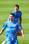 Nederland,Katwijk, 6 september 2012.seizoen 2012/2013.Het Nederlands elftal traint bij Quick boys in Katwijk .Robin van Persie en Klaas Jan Huntelaar