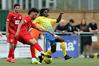 Lee Angol of Leyton Orient and Joshua Samuels of Harlow Town during Harlow Town vs Leyton Orient, Friendly Match Football at The Harlow Arena on 6th July 2019