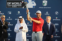 Jon Rahm (ESP) winner of the DP World Tour Championship, Jumeirah Golf Estates, Dubai, United Arab Emirates. 19/11/2017<br /> Picture: Golffile | Fran Caffrey<br /> <br /> <br /> All photo usage must carry mandatory copyright credit (© Golffile | Fran Caffrey)