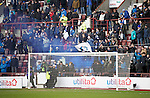 Hibs v St Johnstone...30.01.16   Utilita Scottish League Cup Semi-Final, Tynecastle..<br /> A smoke bomb is let off by saints fans<br /> Picture by Graeme Hart.<br /> Copyright Perthshire Picture Agency<br /> Tel: 01738 623350  Mobile: 07990 594431