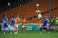 Blackpool's Armand Gnanduillet under pressure from Gillingham's Mark Marshall<br /> <br /> Photographer Kevin Barnes/CameraSport<br /> <br /> The EFL Sky Bet League One - Blackpool v Gillingham - Tuesday 11th February 2020 - Bloomfield Road - Blackpool<br /> <br /> World Copyright © 2020 CameraSport. All rights reserved. 43 Linden Ave. Countesthorpe. Leicester. England. LE8 5PG - Tel: +44 (0) 116 277 4147 - admin@camerasport.com - www.camerasport.com