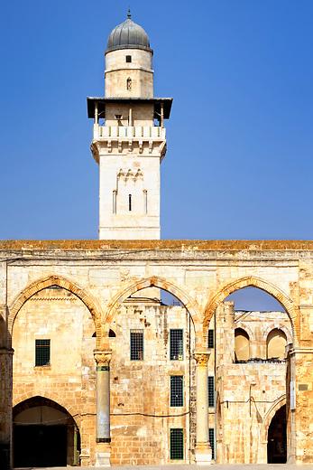 Islamic minaret on the Temple Mount in Jerusalem