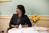 Ayanna Pressley waits before speaking at an event put on by Chelsea Black Community at the Chelsea Senior Center in Chelsea, Massachusetts, USA, on Wed., June 27, 2018. Pressley is running in the Democratic primary Massachusetts 7th Congressional District against incumbent Mike Capuano. Pressley is currently serving as a member of the Boston City Council, and is the first woman of color elected to the Council.