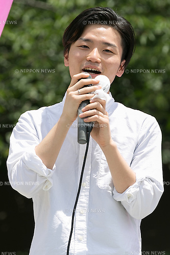 Aki Okuda leader of the Students Emergency Action for Liberal Democracy (SEALDs) speaks during a campaign event of the Democratic Party candidate Renho outside Nakano Station on July 3, 2016, Tokyo, Japan. Akira Nagatsuma acting president of the main opposition Democratic Party and Okuda came to support Renho's election campaign and called on young voters to participate in July 10th's House of Councillors elections. For the first time young citizens (18 and 19 year-olds) will be allowed to take part in the elections. (Photo by Rodrigo Reyes Marin/AFLO)