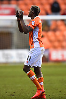 Blackpool's Armand Gnanduillet applauds the fans at the end of the match<br /> <br /> Photographer Richard Martin-Roberts/CameraSport<br /> <br /> The EFL Sky Bet League One - Blackpool v Walsall - Saturday 10th February 2018 - Bloomfield Road - Blackpool<br /> <br /> World Copyright &not;&copy; 2018 CameraSport. All rights reserved. 43 Linden Ave. Countesthorpe. Leicester. England. LE8 5PG - Tel: +44 (0) 116 277 4147 - admin@camerasport.com - www.camerasport.com
