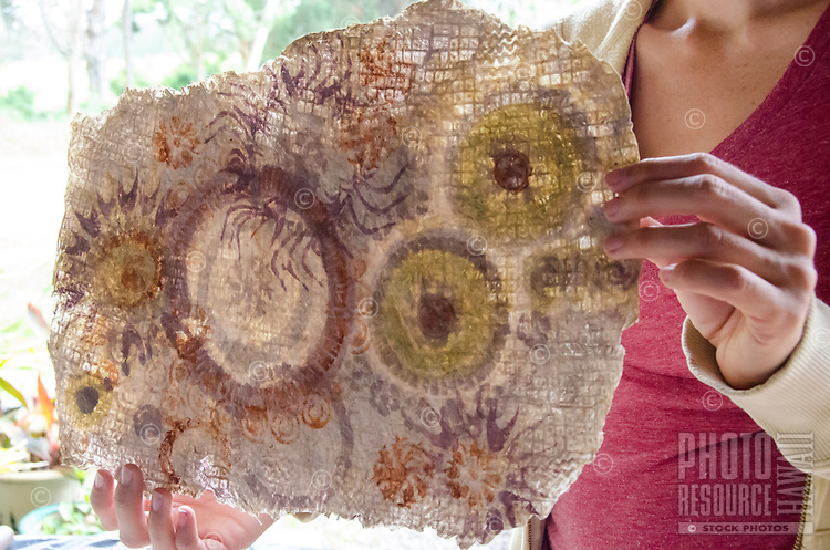 A close-up view of kapa (or tapa) made of paper mulberry bark by Roen Hufford, Big Island.