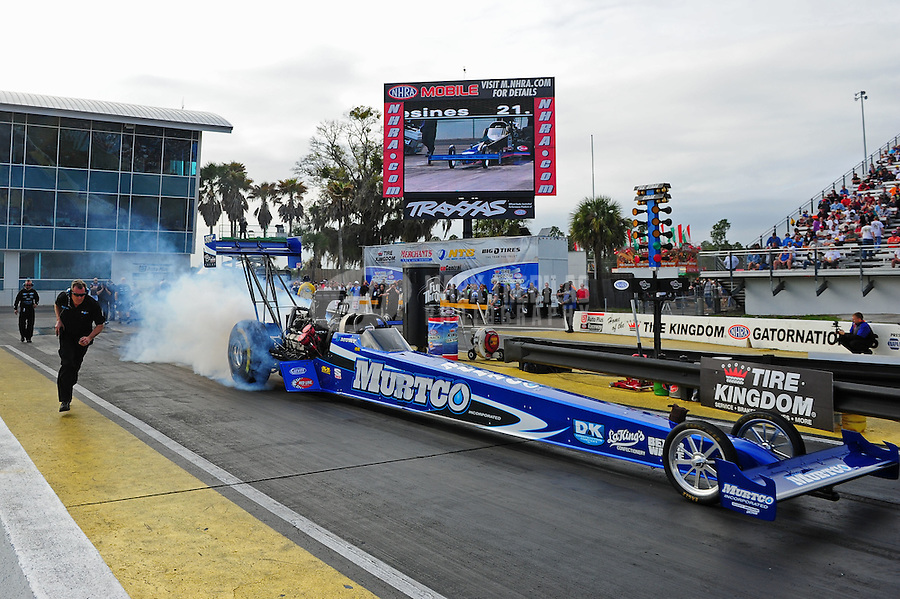 Mar. 10, 2012; Gainesville, FL, USA; NHRA top fuel dragster driver Keith Murt during qualifying for the Gatornationals at Auto Plus Raceway at Gainesville. Mandatory Credit: Mark J. Rebilas-