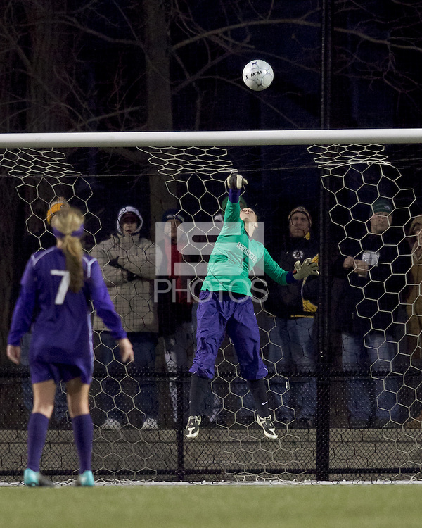 "University of Washington goalkeeper Jorde LaFontaine-Kussmann (1) flips high shot over the bar. In overtime, Boston College defeated University of Washington, 1-0, in NCAA tournament ""Elite 8"" match at Newton Soccer Field, Newton, MA, on November 27, 2010."