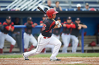 Batavia Muckdogs second baseman Shao-Pin Ho (26) hits a single in the bottom of the second inning during a game against the Lowell Spinners on July 12, 2017 at Dwyer Stadium in Batavia, New York.  Batavia defeated Lowell 7-2.  (Mike Janes/Four Seam Images)