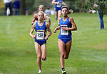 BROOKINGS, SD - SEPTEMBER 24: Emily Donna #358 leads teammate Rachel King #364 from South Dakota State University at the 2016 SDSU Classic Saturday morning at Edgebrook Country Club in Brookings. (Photo by Dave Eggen/Inertia)