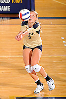 11 September 2011:  FIU outside hitter Una Trkulja (7) returns a serve in the second set as the FIU Golden Panthers defeated the Florida A&M University Rattlers, 3-0 (25-10, 25-23, 26-24), at U.S Century Bank Arena in Miami, Florida.