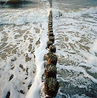 A groyne in the Baltic sea at Bad Doberan, on the island of Rugen, northern Germany