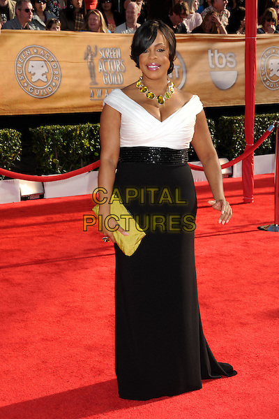 NIECY NASH.16th Annual Screen Actors Guild Awards - Arrivals held at The Shrine Auditorium, Los Angeles, California, USA..January 23rd, 2009.SAG SAGs full length white black maxi dress yellow clutch bag.CAP/ADM/BP.©Byron Purvis/Admedia/Capital Pictures