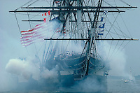 USS Constitution, guns & smoke, Boston, MA