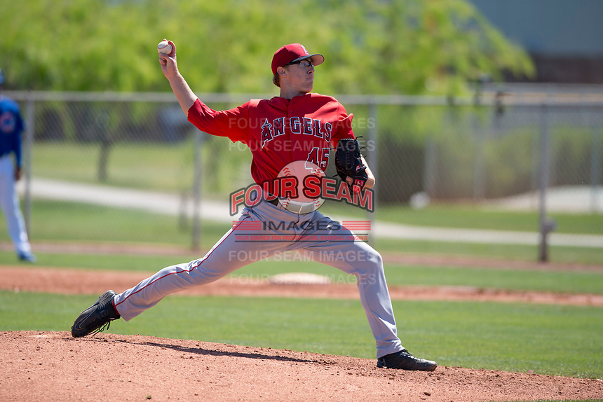 Los Angeles Angels starting pitcher Matt Ball (45) delivers a pitch to the plate during an Extended Spring Training game against the Chicago Cubs at Sloan Park on April 14, 2018 in Mesa, Arizona. (Zachary Lucy/Four Seam Images)