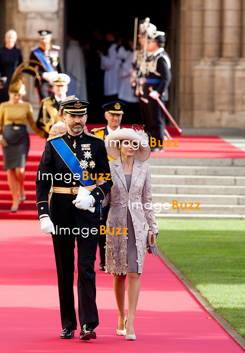 Prince Felipe & Princess Letizia ; Crown Prince Guillaume of Luxembourg and Countess Stéphanie de Lannoy, Royal Religious wedding,, at the Cathedral of Our Lady of Luxembourg. October 20, 2012.