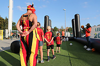 20190829 - LEUVEN , BELGIUM : Belgian supporters pictured at the fan village at the beginning of the female soccer game  between the Belgian Red Flames and England , The Lionesses , a friendly womensoccer game in the preparation for the European Championship qualification round in group H for England 2021, Tuesday 29 th August 2019 at the King Power Stadion Den Dreef in Leuven , Belgium. PHOTO SPORTPIX.BE | SEVIL OKTEM