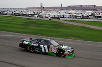 Oct. 11, 2009; Fontana, CA, USA; NASCAR Sprint Cup Series driver Denny Hamlin during the Pepsi 500 at Auto Club Speedway. Mandatory Credit: Mark J. Rebilas-