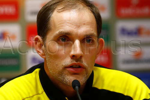 13.04.2016. Anfield, Liverpool, England. Europa League. Liverpool versus Borussia Dortmund Pre Match Press Conference and Training. Borussia Dortmund coach Thomas Tuchel speaking to the media at today's press conference at Anfield ahead of tomorrow night's second leg of the Europa Cup quarter final v Liverpool.